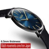 OLEVS Simple Design Lovers Waterproof Watch Women Men Wristwatch Ultrathin Dial Quartz Leather Watches For Women