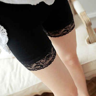 新ホット女性の女性のスパンデックス弾性レースのパンツ安全ショートパンツ下着白黒
