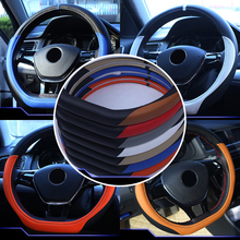 Anillo D 38 cm de cuero Sport Racing Volante Cubierta Car Styling para Volkswagen VW Golf 7 Mk7 Jetta Passat Lavida Nuevo Polo B8
