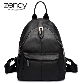 Zency Hot Selling Women Backpack 100% Genuine Leather Practical Lady Travel Bag Schoolbags For Girls Daily Casual Knapsack Black