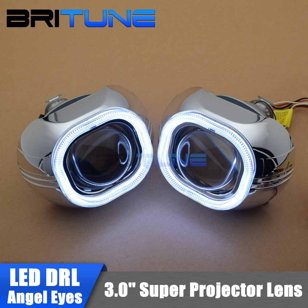3.0 ''Super LED Luzes Diurnas Quadrado COB Angel Eyes HID Bixenon Lente Do Projetor Do Farol Do Carro Retrofit DIY H1 h4 H7 9005