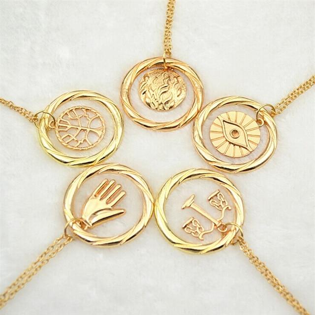 Divergente collar vintage Dauntless Candor erudito Amity abnegación colgante dorado y plata para hombres mujeres venta al por mayor