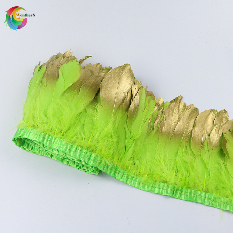 Wholesale Dipped gold Goose feather trimming Height 15-20cm Apple green feather strip fo ...