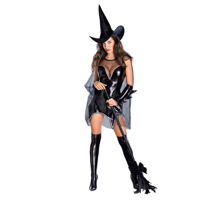 Halloween Costumes Women Black Witch Costume Dress and Hat Party Faux Leather Sexy Cosplay Clothing Transparent Witch Dresses
