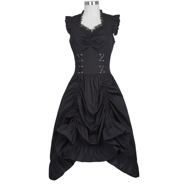 Belle Poque Sleeveless V-Neck 50s Retro Gothic Victorian Women Dress Vintage Ruffles Silver Corset Adjustable Hemline Mid Robe