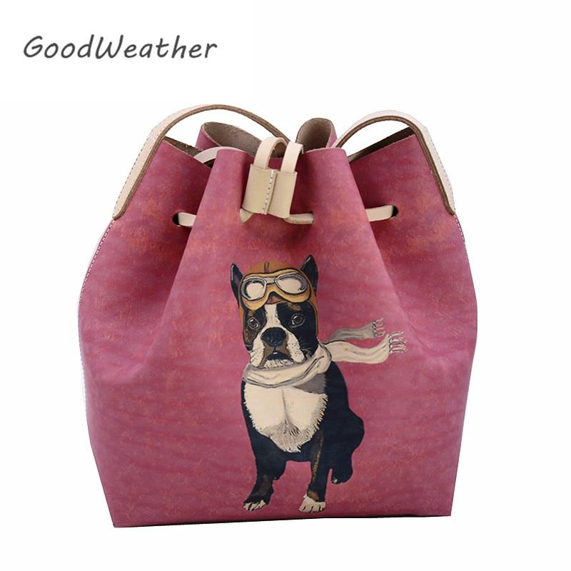 Designer peppy print shoulder bags high quality genuine leather handbags women drawstring bucket bag cute messenger bags