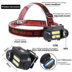 Image 2 - Super Bright LED Headlamp COB Work Light 4 Lighting Mode Waterproof Headlight Powered By 18650 Battery suit for Night Lighting