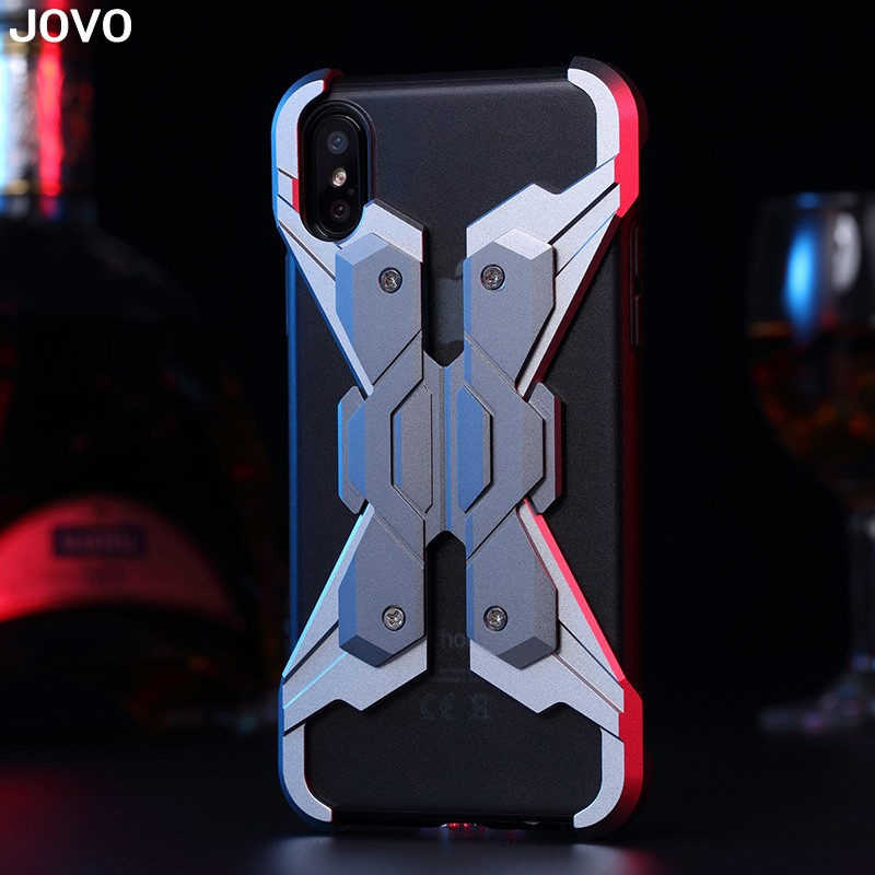 JOVO Metal Armor Shock Droproof Shockproof Mobile Phone Bag Case for IPhone X 7 8 X 6S 6 S Plus coque