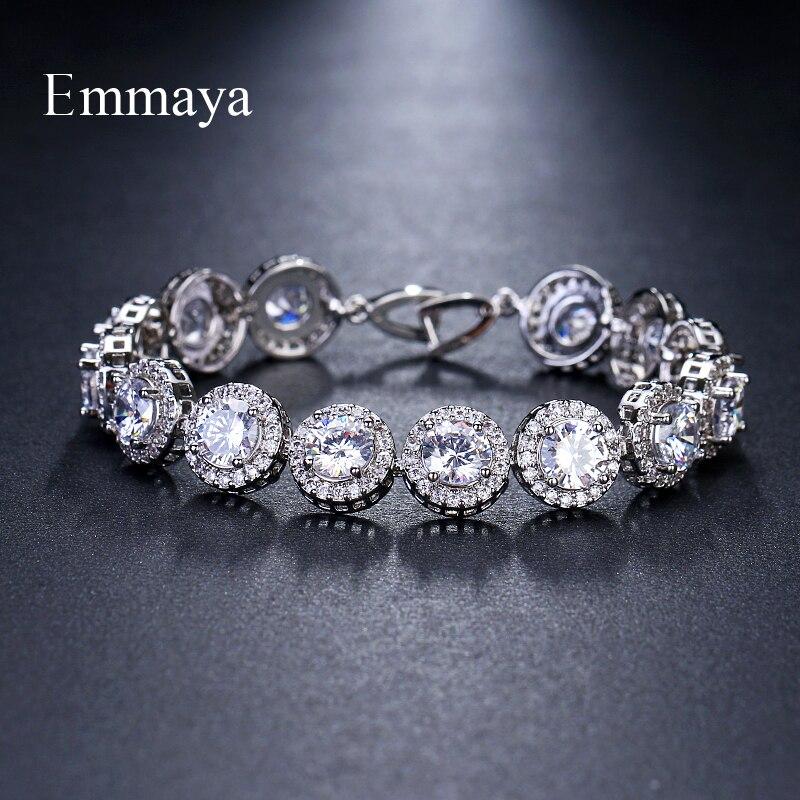 Emmaya Brand Charm Classic AAA Cubic Zircon Three Colors Roundel Bracelets For Woman Elegance Wedding Party Birthday Gift