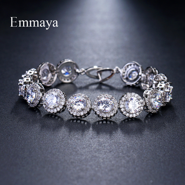 Emmaya Brand Charm Classic AAA Cubic Zircon Three Colors Roundel Bracelets For Woman Elegance Wedding Party Birthday Gift