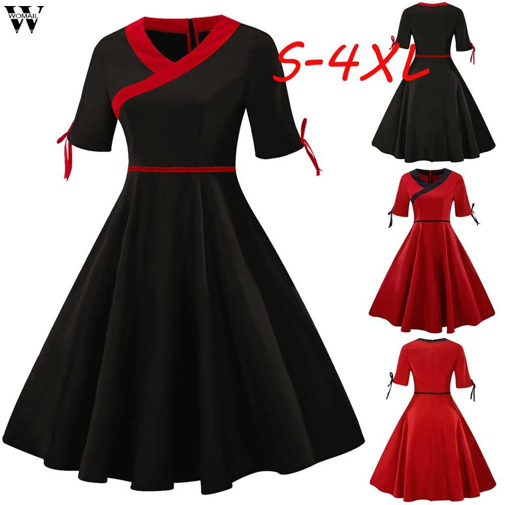 Women Vintage Christmas Dress Elegant Solid Winter Casual Dress O Neck Sexy  Party Dresses Swing Robe e3fe390b9d41
