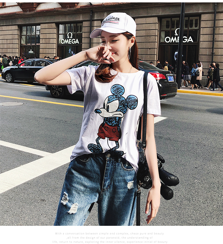 2019 Summer New Women's T-shirt Fashion Casual Mickey Mouse Printing Round Neck Short Sleeve Loose Female Tshirts 15
