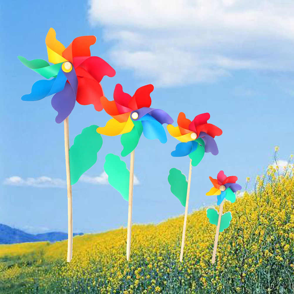 5Pcs/Set Wind Spinner Simple Four Colors Windmill Outdoor toys Pinwheel Wooden Wheel Pole Garden Decoration Kids Children Toys