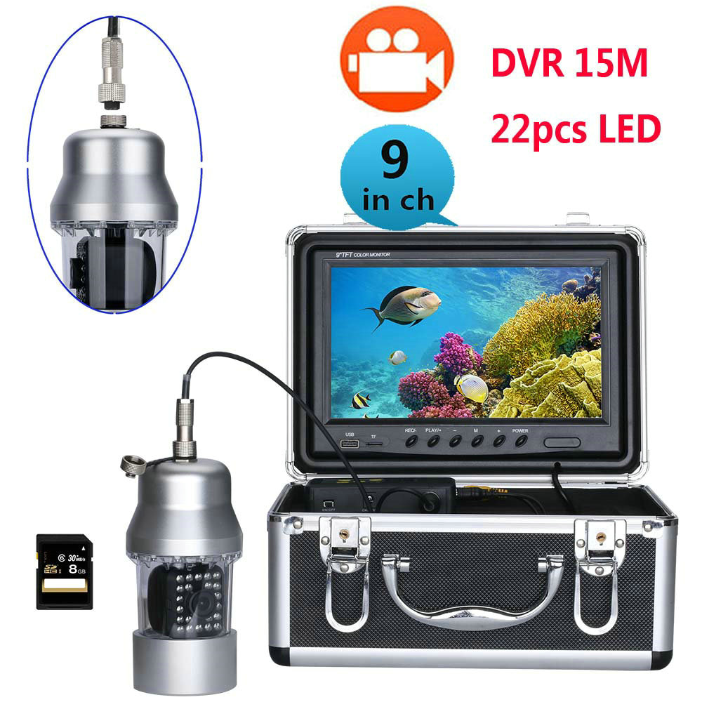 """Straightforward 15m 9""""inch Dvr Recorder Underwater Video Fishing Camera System 0-360 Degree View, Remote Control, 22 White Led Catalogues Will Be Sent Upon Request"""