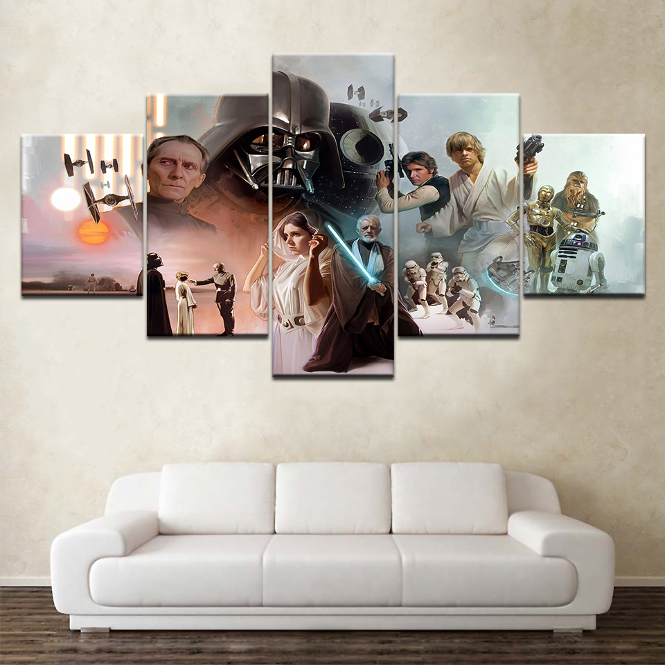 Wall Art Canvas Painting Poster Wall Pictures Frame Home Decor 5 Panel Star Wars Movie Characters Canvas Modular Pictures1 in Painting Calligraphy from Home Garden
