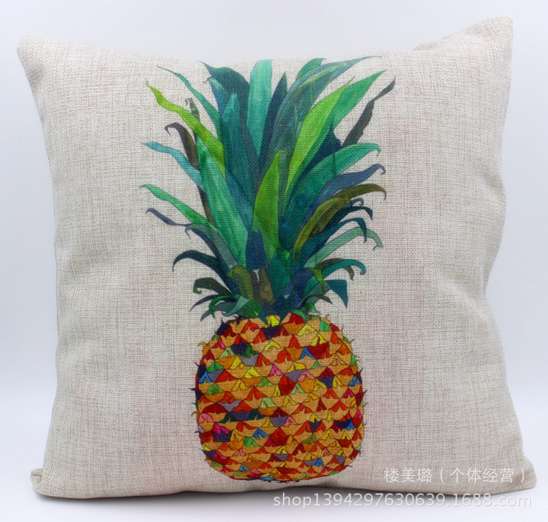 Hot new colorful fashion hit color digital printing pineapple breathable cotton pillow cushion