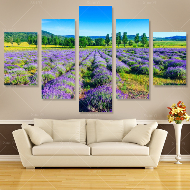 5 panel Modern impreso hermosa lavanda pintura cuadros pinturas ...