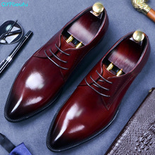 2019 Italian Spring Autumn Men Formal Wedding Shoes Genuine Cow Leather Lace Up Party Man Black Wine Red Dress Shoes mens loafers spring autumn mixed color red black stripe nubuck leather formal party and wedding shoes metal toe espadrilles 2017