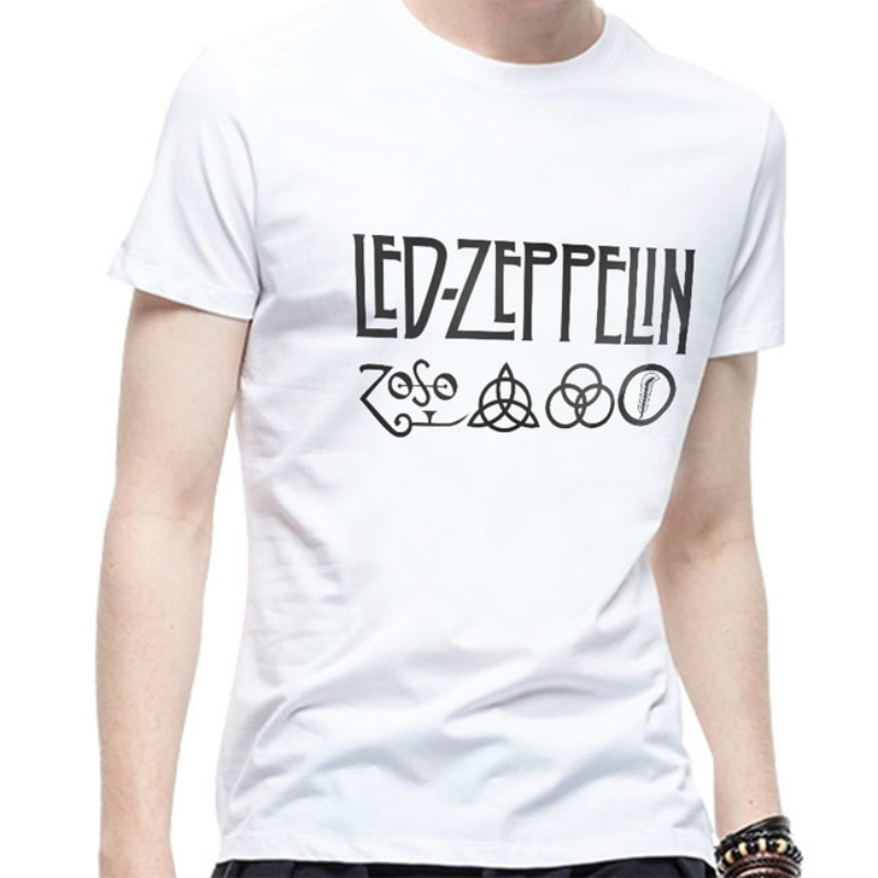 Led Zeppelin Zoso Band   T     Shirts   Summer Fashion Men Round Neck Cotton   T  -  shirt   Hip-hop Letter Printed Short   Shirt
