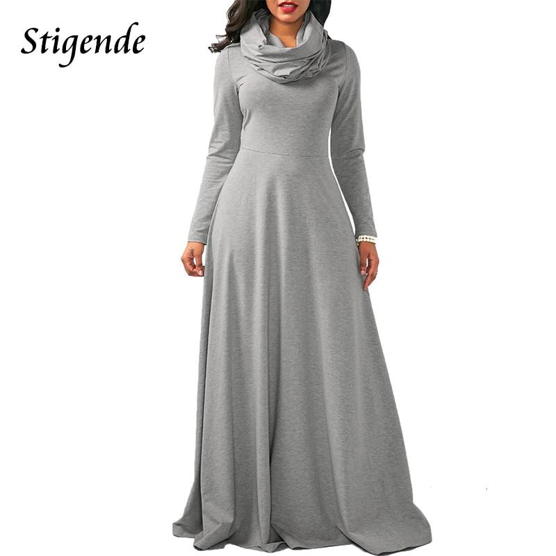 Aliexpress.com   Buy Stigende Spring Autumn Women Casual Long Maxi Dress  Sexy Full Sleeve Cowl Neck Plain Color Loose Empire Waist Floor Length Dress  from ... 63e12ad32d91