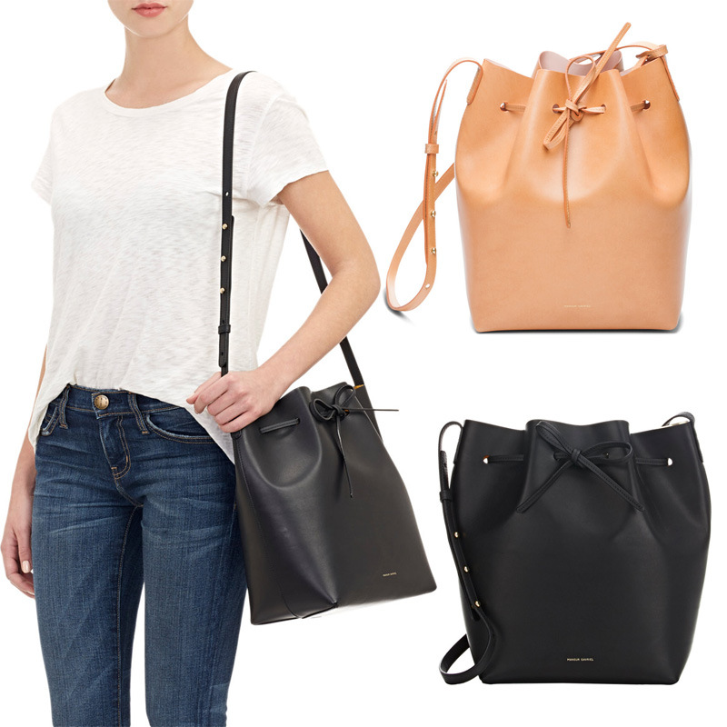 2017 New Leather Mansur Gavriel Bucket Bag Shoulder Handbags European And American Drawstring Size S L Fast Shipping In Bags From