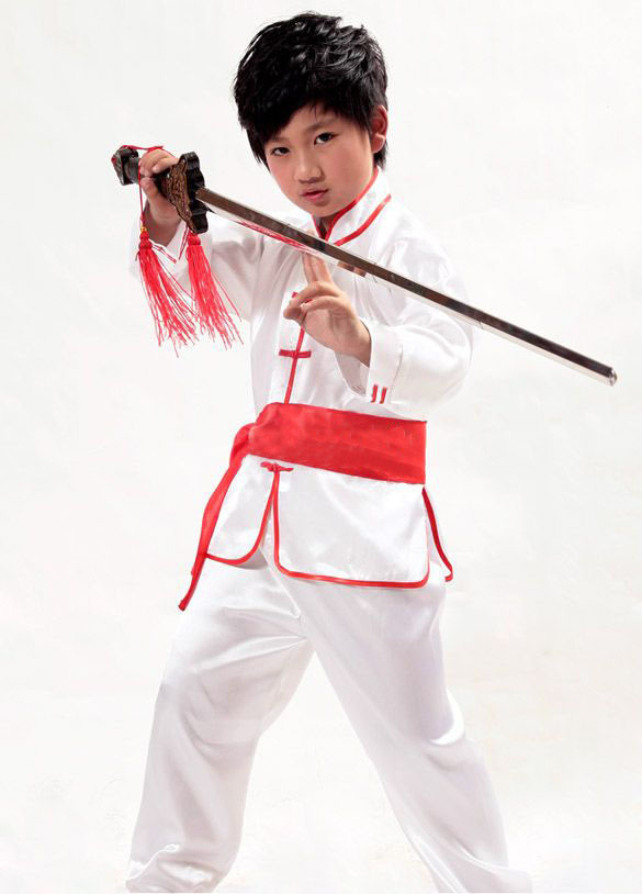 Kids Loose Clothing Chinese Kung Fu Suit Performing Outfit Top+ Pant With Belt