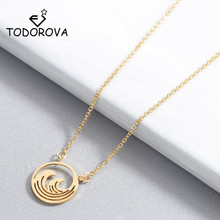 Todorova Link Chain Circle Wave Pendant Necklace Beach Surfer Jewelry for Women Ocean Charm Choker Necklaces Collar