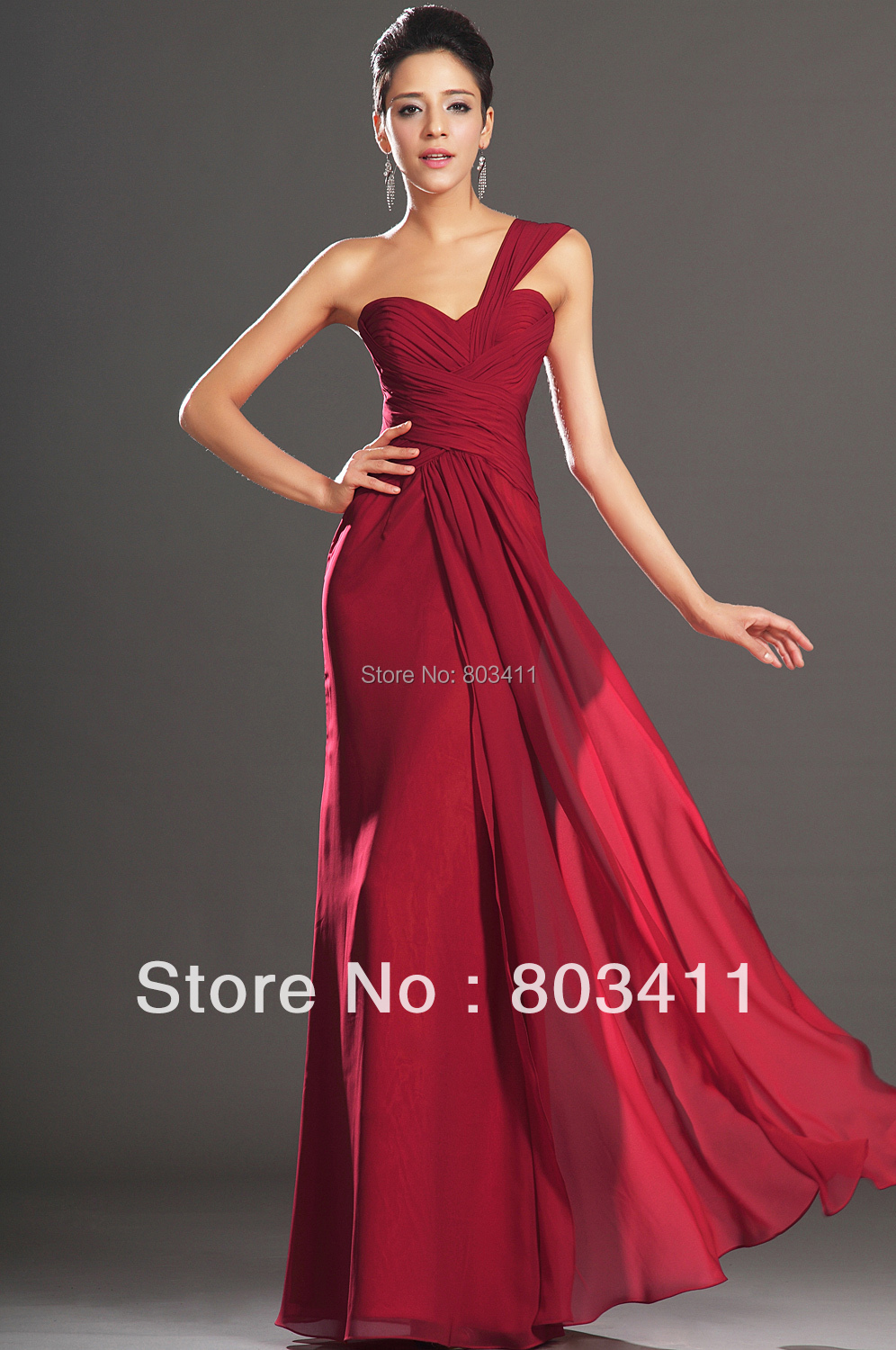 FreeShipping New Amazing One Shoulder Sweetheart Neckline Ruched Bodice Evening Dress