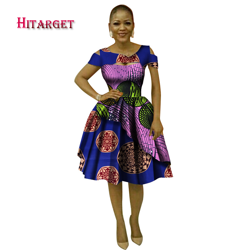 Hitarget 2018 Summer Bazin African Dresses for Women Dashiki African Wax  Print Sexy V Neck Dresses Traditional Clothing WY3038-in Africa Clothing  from ... 4da8efcea156