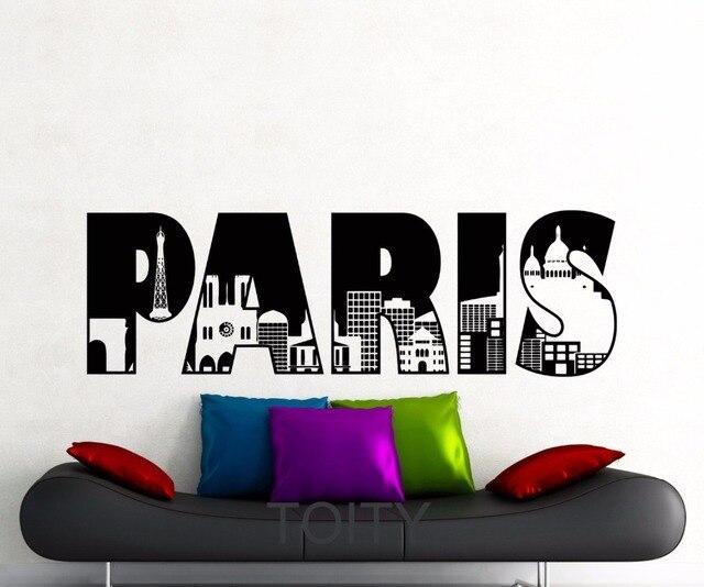 Paris Wort Wandaufkleber Eiffelturm Frankreich Symbol Vinyl ...