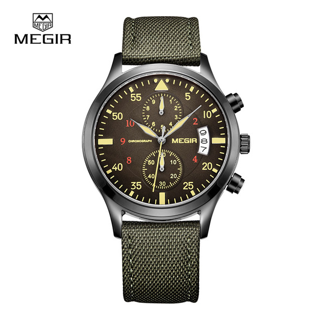 Megir Mens Sports Watch Chronograph Quartz-Watch Casual Analog Date Nylon Band Wrist Watch relogio masculino free shipping2021-1
