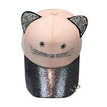 6dc83f36085 Women Plain Solid Color Baseball Cute Cat Ear Sequin Cap Curved Visor Hat  Adjustable Size Cotton