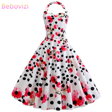Bebovizi 2019 Summer New Women Casual Office Vintage Flower Print  White Dresses Plus Size Sexy Elegant Party Retro A-Line Dress