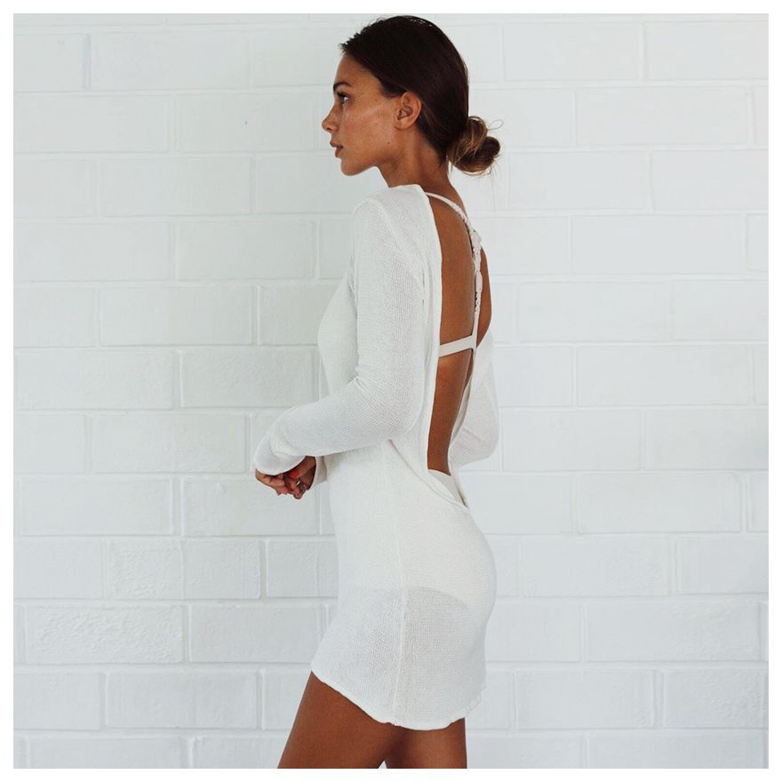 Women Summer Autumn Sexy Sweater Dress Women Solid White O-neck Long Sleeve Backless Mini Dresses Knitted Dresses(WHITE,S/US~4 inc new solid white women s size 0 knitted capris cropped pants $59 056