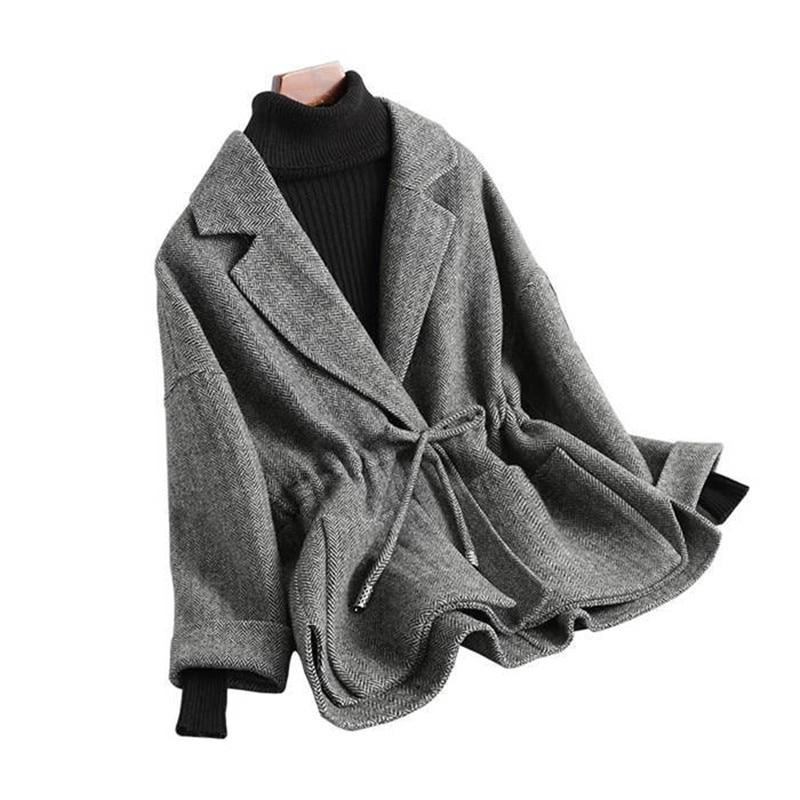 Plus cotton Woolen Coat Women 2019 Autumn Winter Fashion Wool Blends Jackets Plus size Female Belt