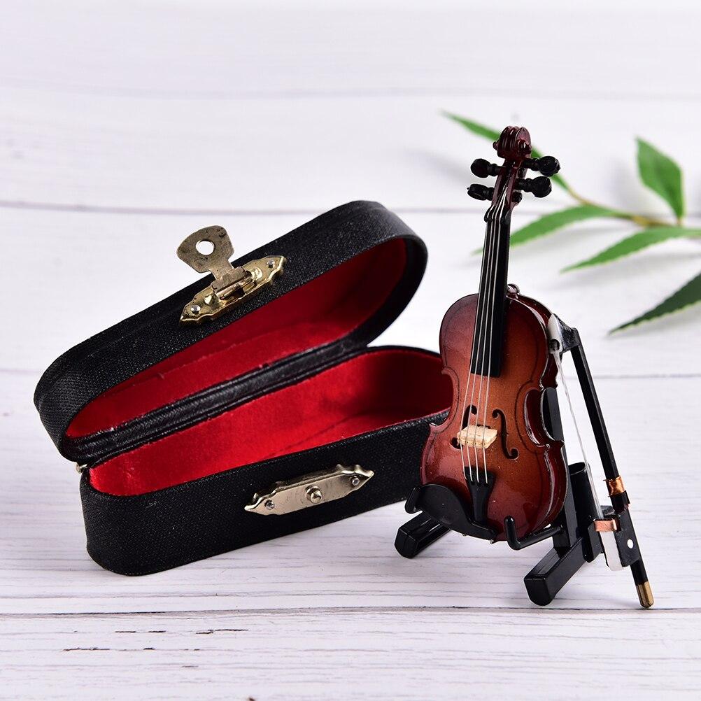 8cm instrumentos musicais mini violino coleção de madeira ornamentos decorativos modelo decoração presentes com suporte em miniatura