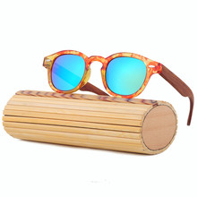 Wooden Round Bamboo Sunglasses Women
