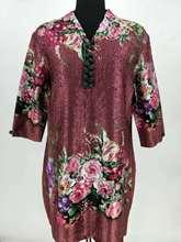 2018 Loose Collar Button Middle-aged Straight Print Mandarin Collar Knee-length Lady Dress