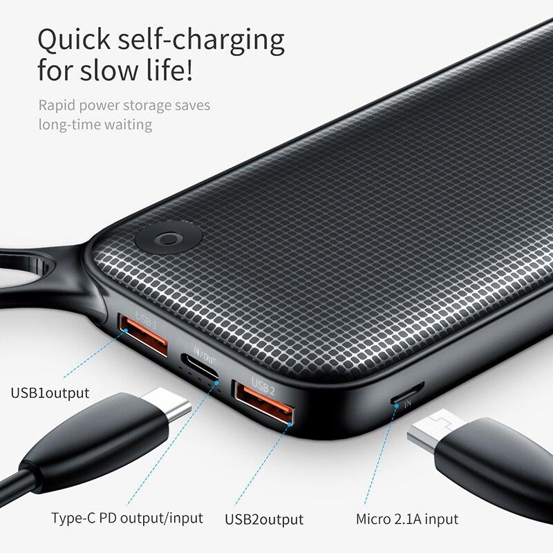 Baseus 20000 mAh Мощность банка для iPhone Xs Max XR 8 7 samsung S9 USB PD Быстрая зарядка + двойной QC3.0 Быстрый Зарядное устройство Мощность банк MacBook