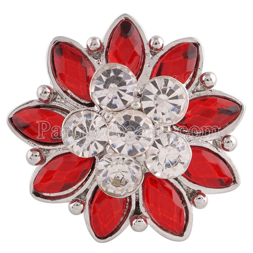 Partnerbeads 20 MM Fleur snap Argent Plaqué avec Rouge et clair strass  snaps bijoux KC7196 957f3723359