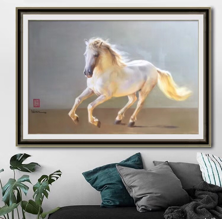 Wall art animal oil painting white horse running Original Hand painted artwork on Canvas impressionist modern paintings