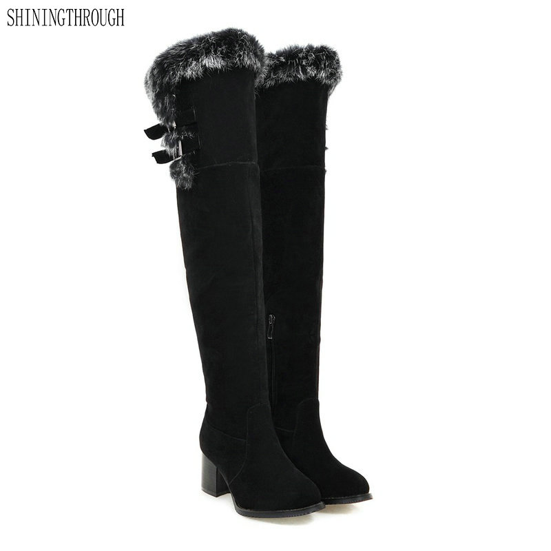 100% Wahr Neue Frauen Stiefel Winter Warm Über Die Kniehohe Schnee Stiefel Komfort High Heels Mode Stiefel Qualität Wildleder Lange Stiefel