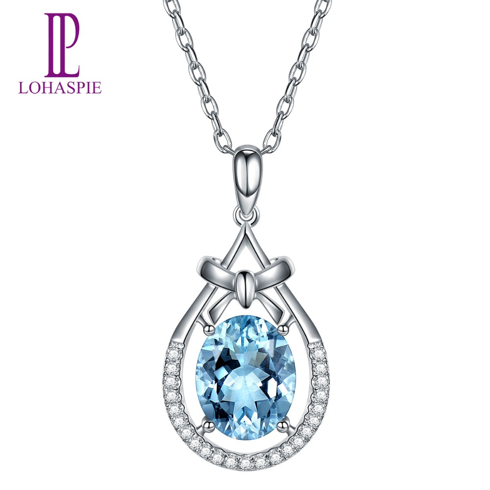 Lohaspie Solid 18K White Gold 1.65ct Natural Gemstone Aquamarine Pendant Diamond-Jewelry Fine Stone Jewelry For March Birthday