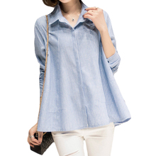 2017 Spring New Blouse Shirt Women Tops Casual Long Sleeve Casual Striped Polo Shirt White Chemise Cool Blouse Blusas Tops XH084