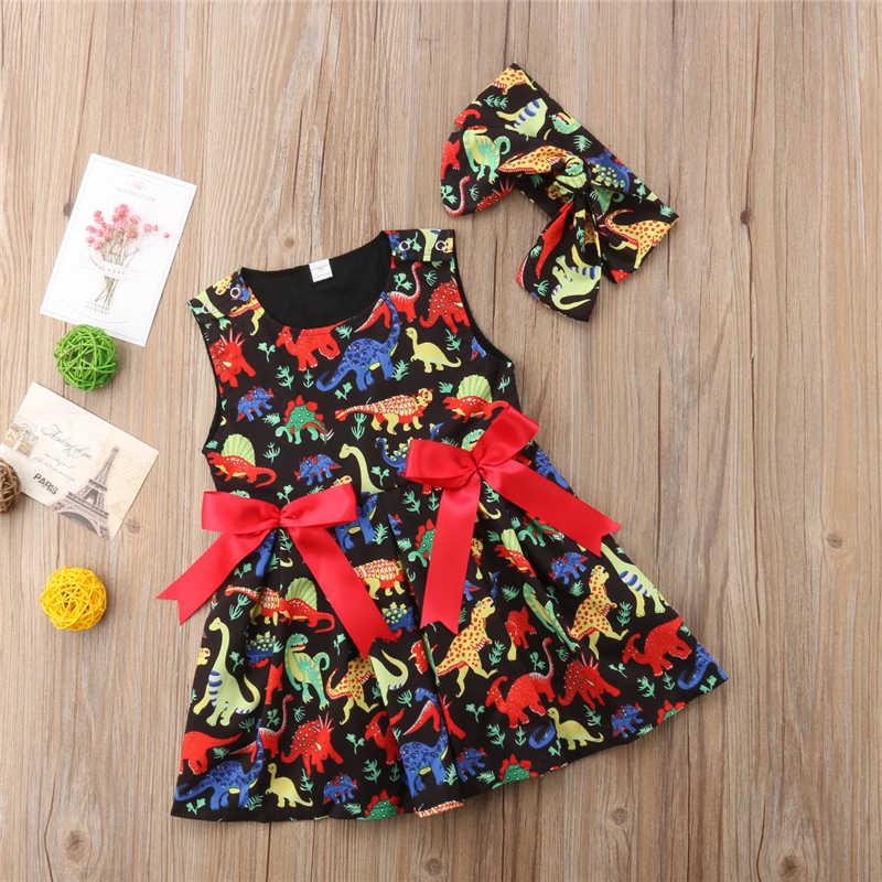 04239721619e ... Infant Kids Baby Girl Cartoon Dinosaur Dress Sundress+Hairband 2Pcs  Girls Toddler Summer Sleeveless Birthday