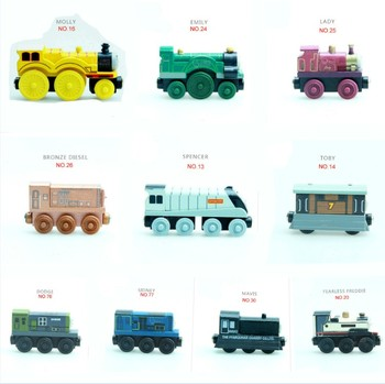 EDWONE DIY Mini Wood Toy Magnetic Wooden Train Small Car Trains Anime Locomotives Toy Educational Model for Kids Gift image