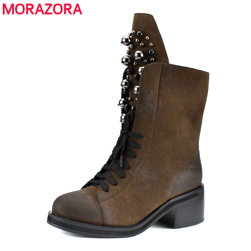 MORAZORA 2018 top quality ankle boots for women round toe lace up autumn winter boots fashion rivet punk shoes woman black morazora 2018 new arrival genuine leather ankle boots for women lace up zipper autumn boots fashion punk shoes woman black