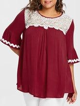 Plus Size Lace Yoke Bell Sleeved Women's Top