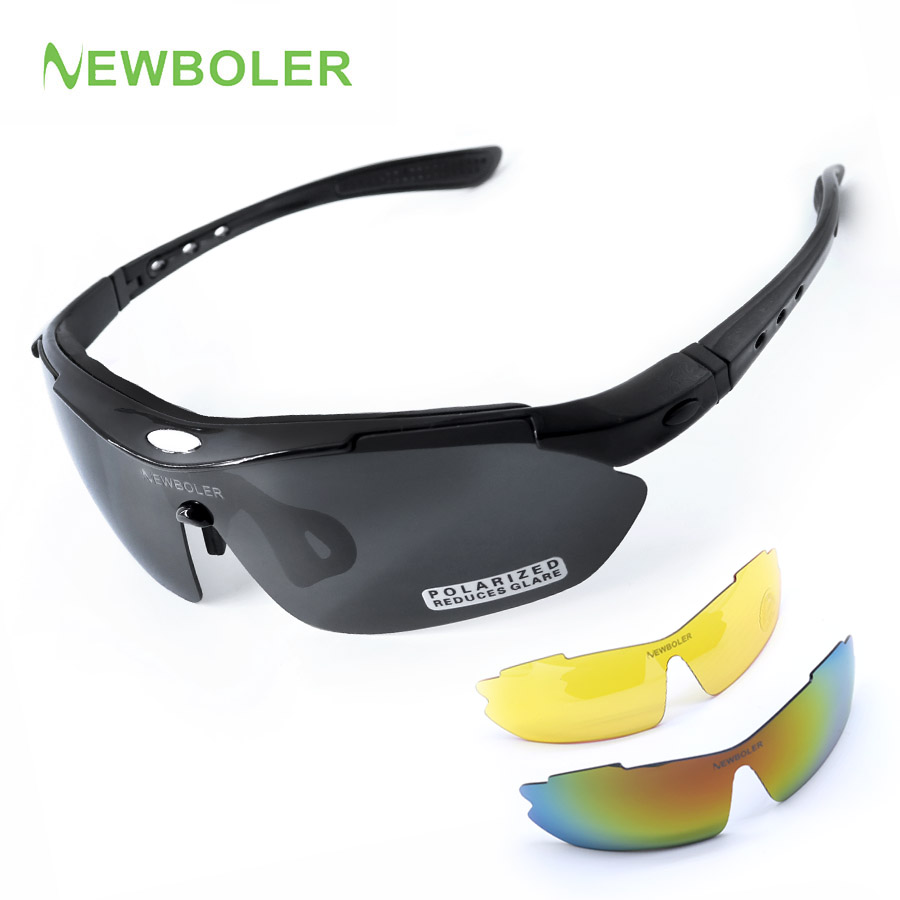 NEWBOLER Man/Women Polarized Cycling Eyewear Outdoor Sports SunGlasses MTB Bike Racing Bicycle Sunglasses Goggle+3 Lens