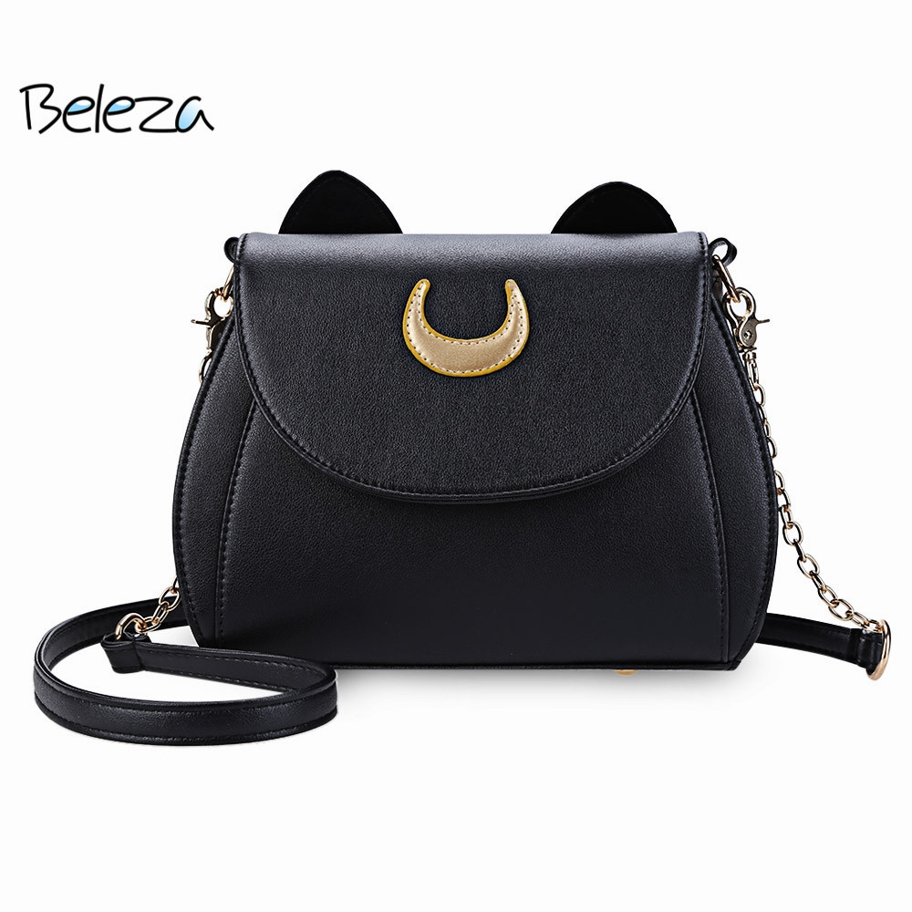Beleza Cute Cat Ear Crossbody Bags Shape Crescent Detachable Strap Chain Shoulder Sailor Moon Bag Messenger for Women